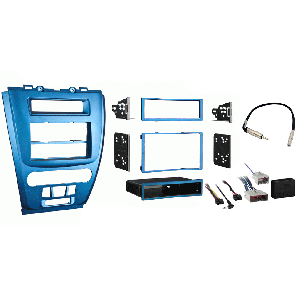 Ford Fusion 2010 2011 2012 Single or Double DIN Stereo Radio Install Dash Kit Blue