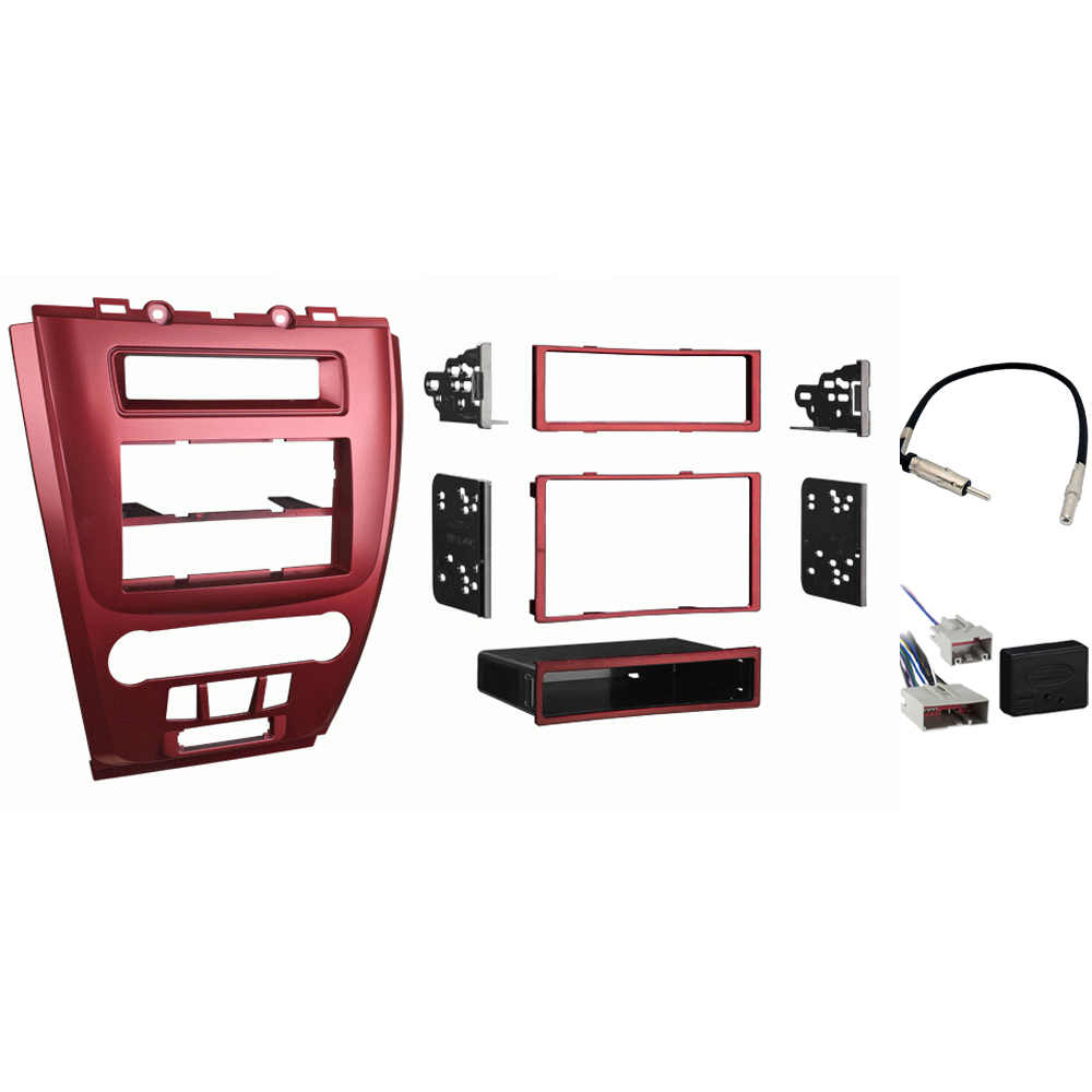 Ford Fusion 2010 2011 2012 Single or Double DIN Stereo Radio Install Dash Kit Red New