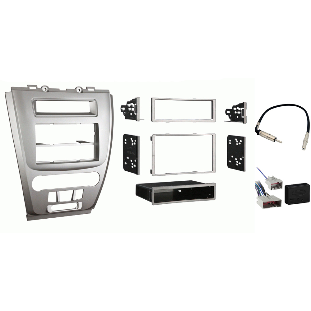 Ford Fusion 2010-2012 Single or Double DIN Stereo Radio Install Dash Kit Silver