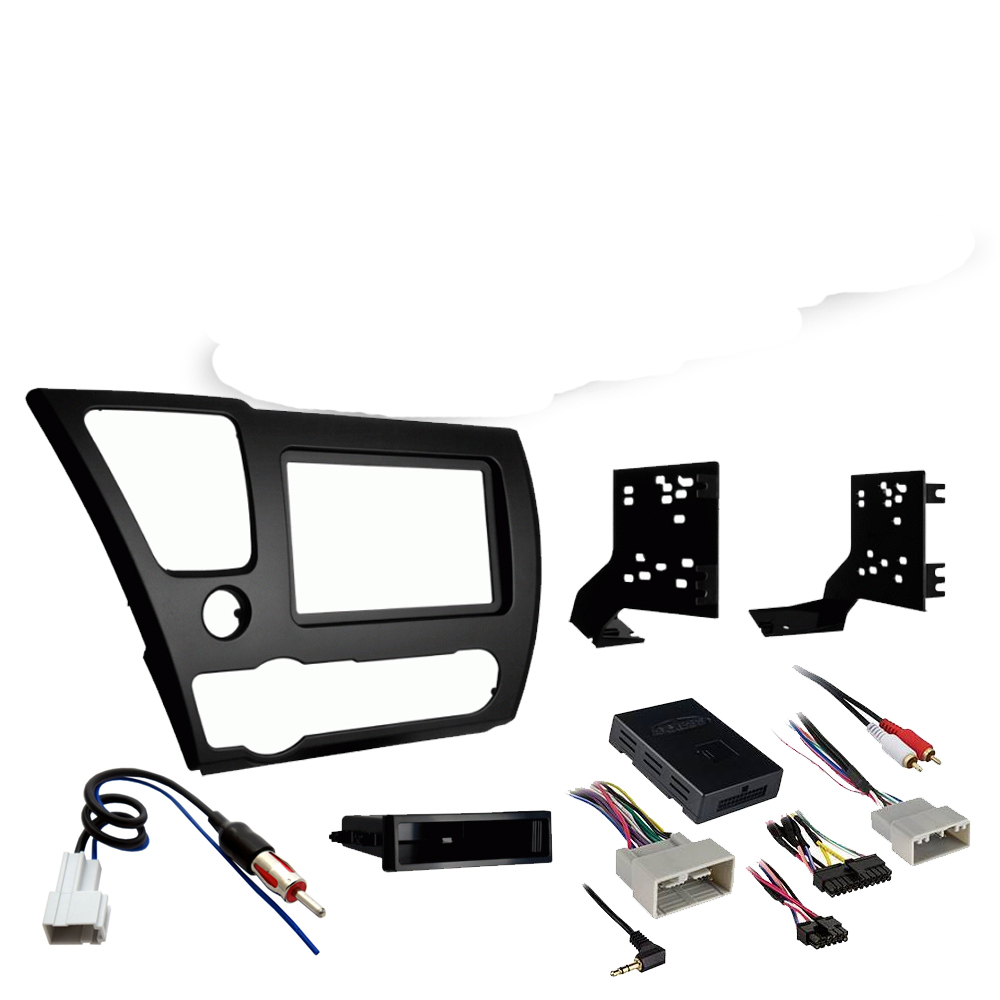 Honda Civic 2013 2014 Single DIN Stereo Harness Radio Install Dash Kit Package