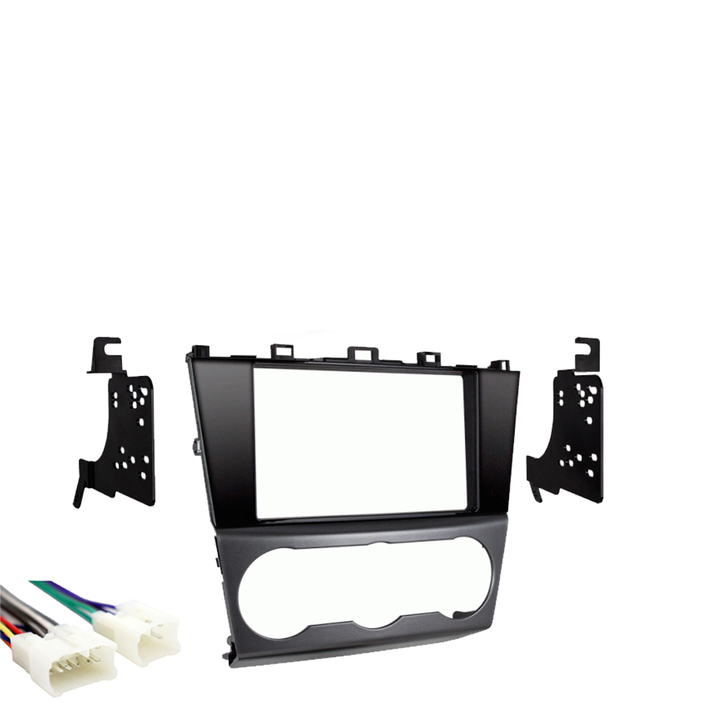 Silver Double Din Stereo Radio Install Trim Dash Kit Combo for select Subaru