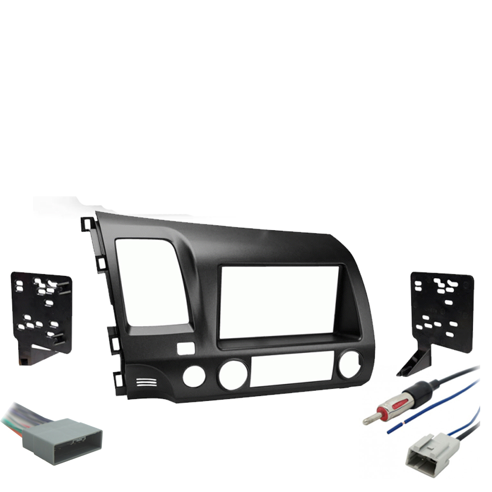 Honda Civic 2006-2008 Single or Double DIN Stereo Radio Install Dash Kit Gray