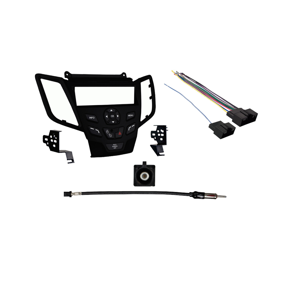 Ford Fiesta 2011 W  O Sync Sdin Stereo Harness Radio Install Kit - Black Dash