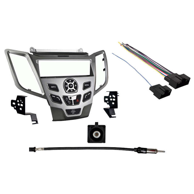 Ford Fiesta 2011 without Sync Single DIN Stereo Harness Radio Install Kit   Silver Dash