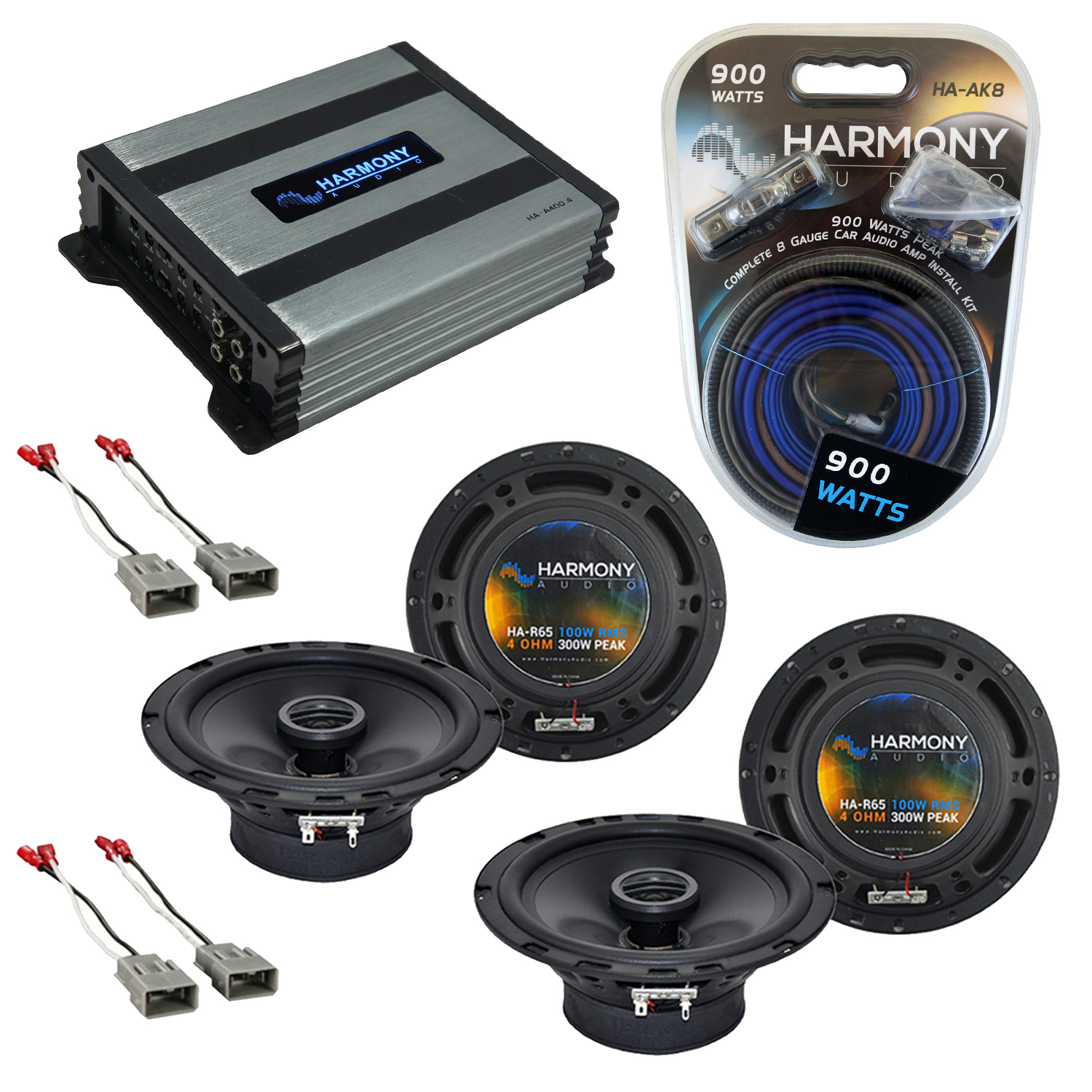 """Harmony Audio Compatible with 2001-2006 Acura MDX (2) HA-R65 6.5"""" New Factory Speaker Replacement Upgrade Package With HA-A400.4 Amplifier And HA-AK8 8Ga Amp Install Kit"""