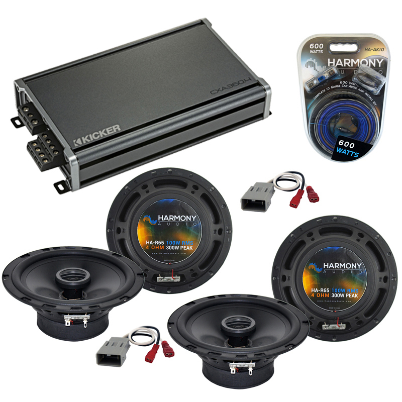 Harmony Audio Bundle Compatible With 1993-1997 Honda Civic (2) HA-R65 OEM Speaker Replacement With KIC19-46CXA3604 Car Audio 4 Channel Amp