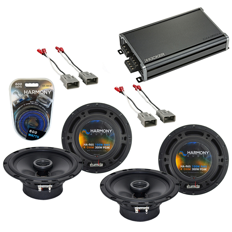 Harmony Audio Bundle Compatible With 1997-2006 Honda CRV (2) HA-R65 Factory Speaker Replacement With CXA360.4 Amp And HA-AK10 Car Stereo Complete 10 Gauge 600W Amp Install Kit