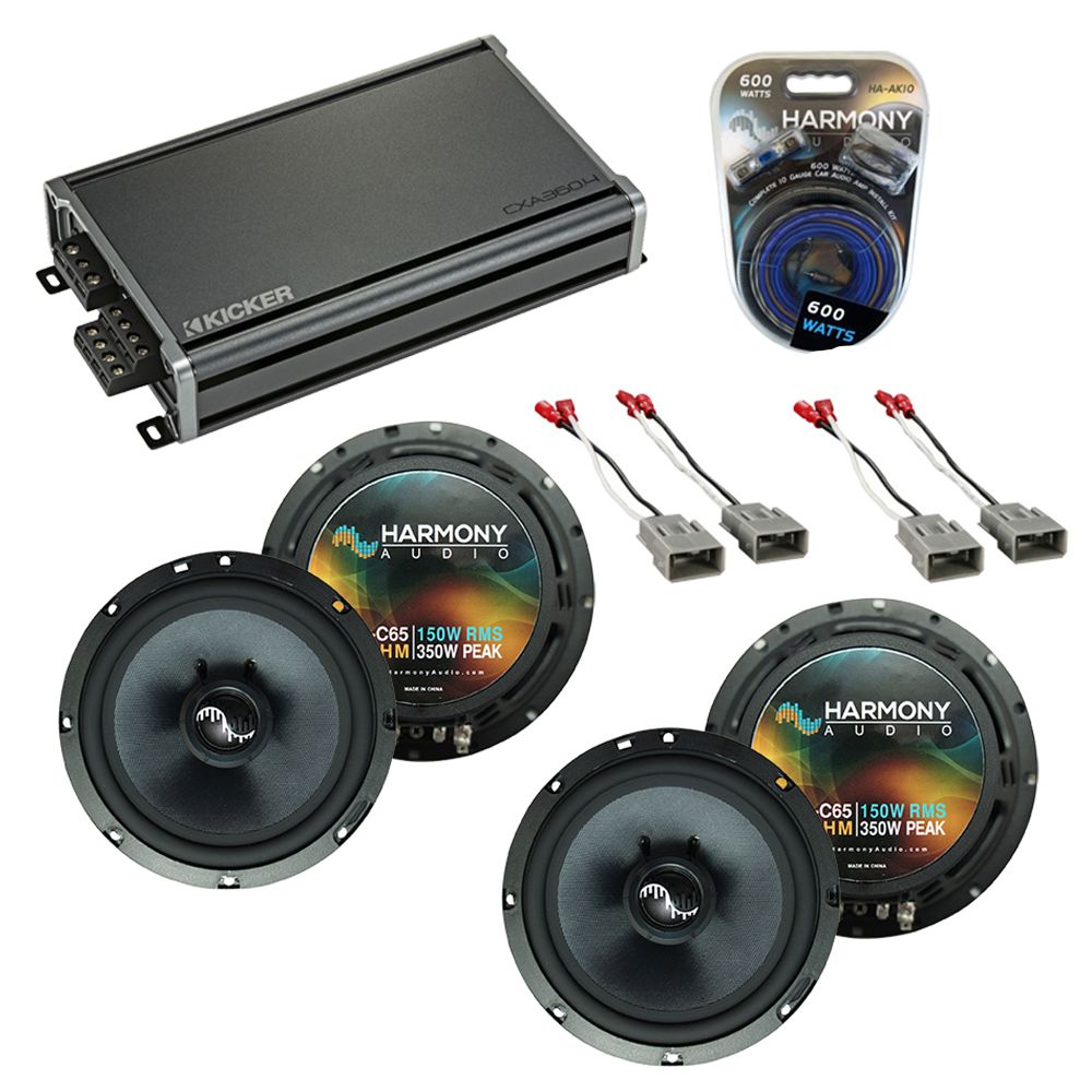 """Harmony Audio Bundle Compatible With 2003-2008 Honda Pilot HA-C65 6.5"""" Replacement 300W Speakers With 46CXA3604 4Ch 720W Amp And HA-AK10 10Ga 600W Amp Install Kit"""