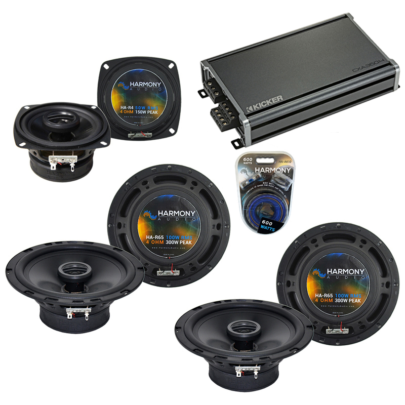 Compatible with Hummer H2 2008-2009 Factory Speaker Replacement Harmony (2) R65 R4 & CXA360.4 Amp