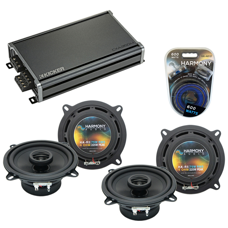 Compatible with Hyundai Accent 2000-2001 Speaker Replacement Harmony (2) R5 & CXA360.4 Amp