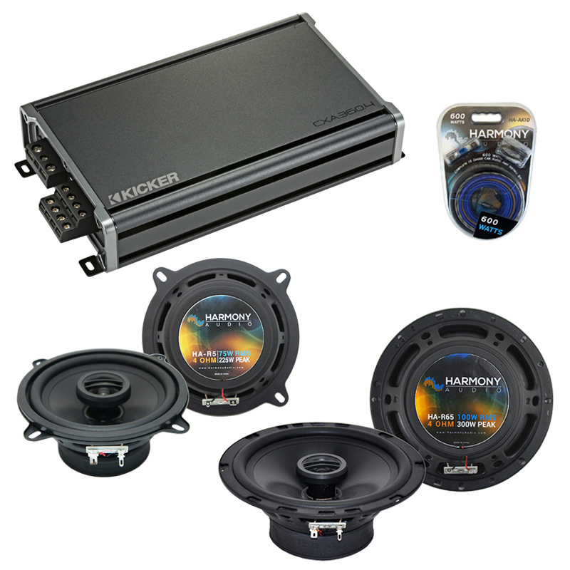 Compatible with BMW 320i 1977-1989 Factory Speaker Replacement Harmony (2) R5 & CXA300.4 Amplifier