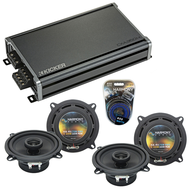 Compatible with BMW 5 Series 1997-2008 Factory Speaker Replacement Harmony (2) R5 & CXA300.4 Amp
