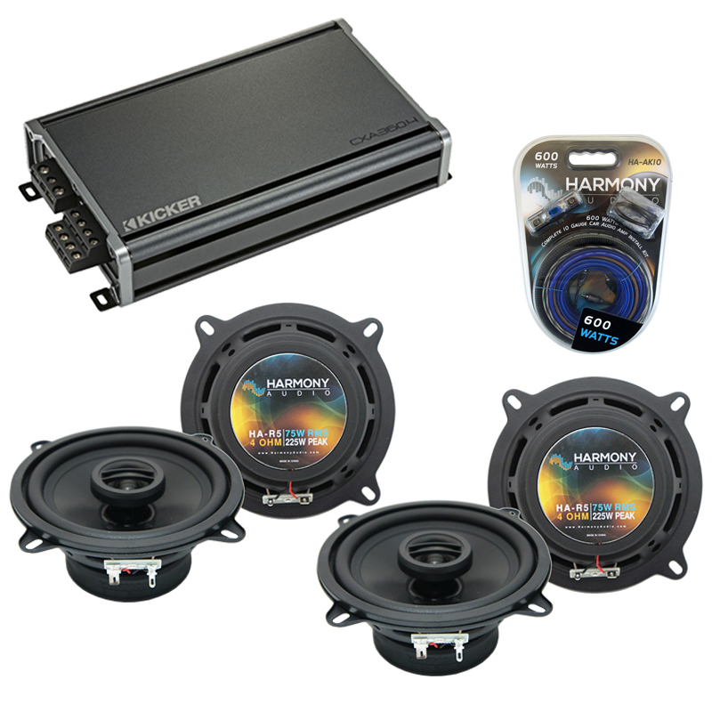 Compatible with Jeep Cherokee 1984-1987 OEM Speaker Replacement Harmony (2) R5 & CXA360.4 Amp