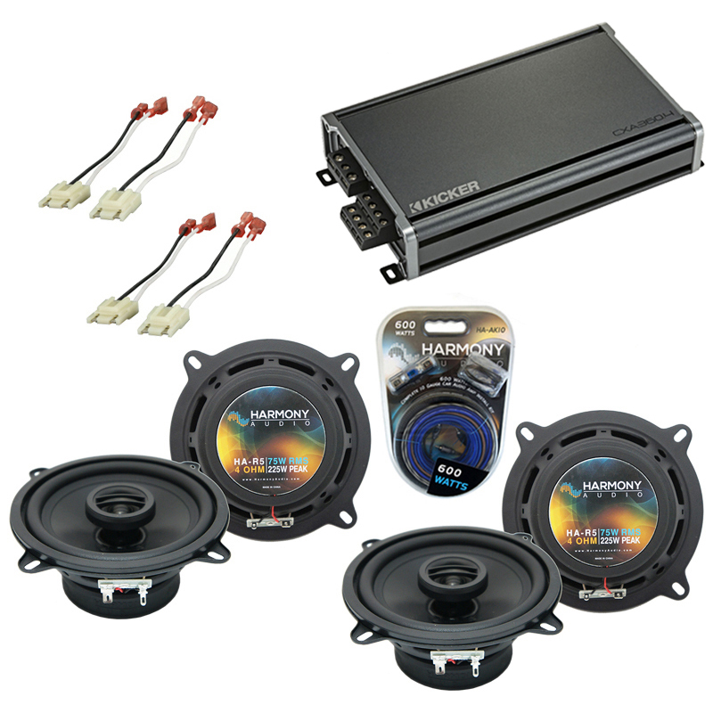Compatible with Jeep Cherokee 1988-1996 OEM Speaker Replacement Harmony (2) R5 & CXA300.4 Amp