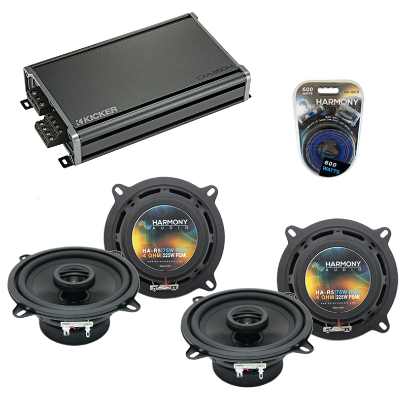 Compatible with BMW 850i 1990-1991 Factory Speaker Replacement Harmony (2) R5 & CXA300.4 Amp