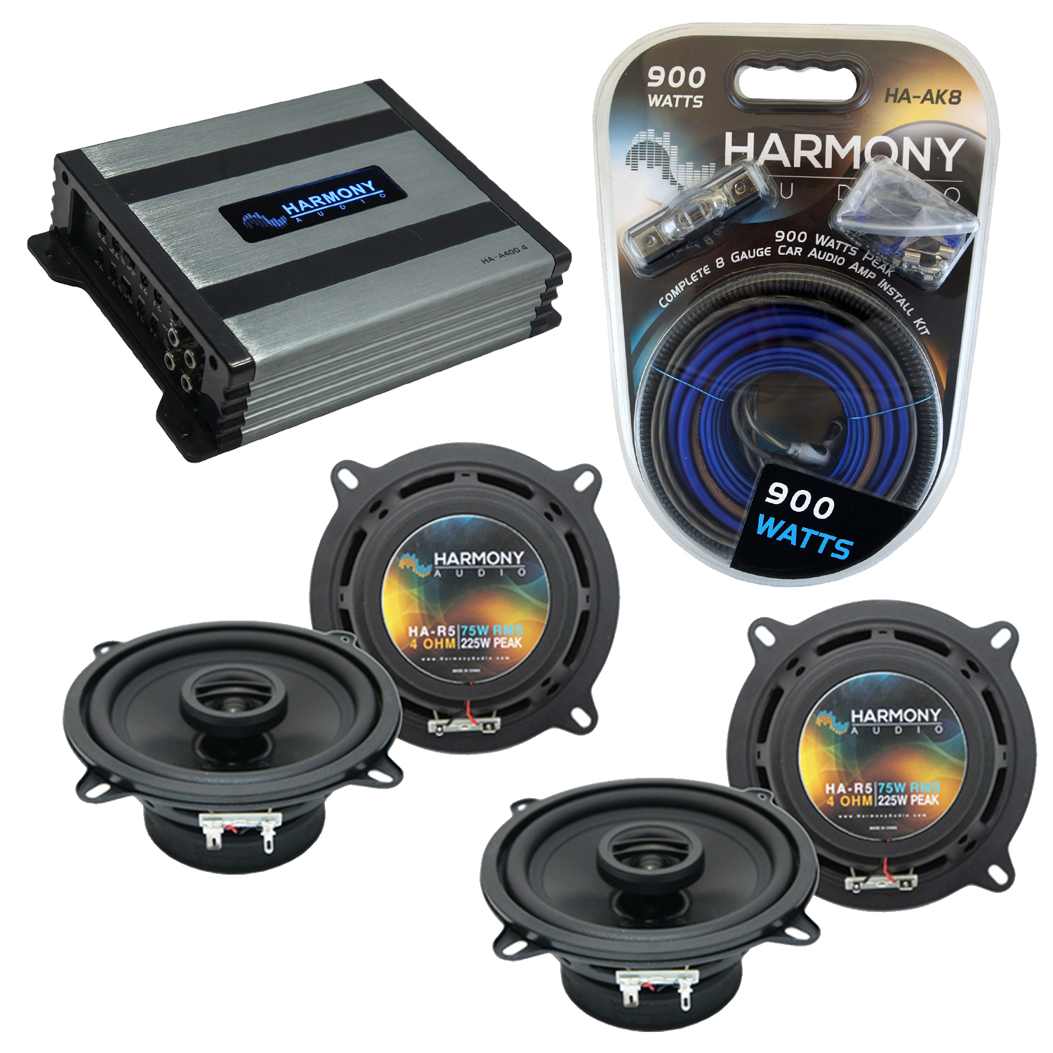 Compatible with Lexus IS 2006-2014 OEM Speaker Replacement Harmony (2) R5 & Harmony HA-A400.4 Amplifier