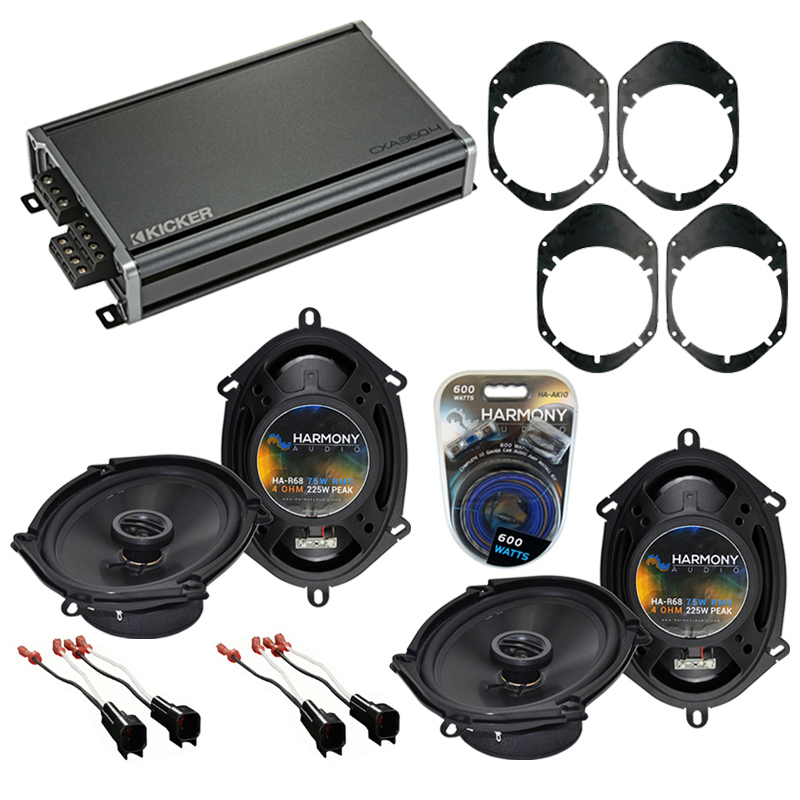 Compatible with Lincoln Zephyr 2006-2006 OEM Speaker Replacement Harmony (2) R68 & CXA300.4 Amp