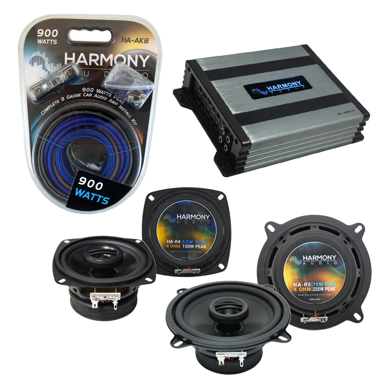 Compatible with Mercedes 380/300 Series 81-96 OEM Speaker Replacement Harmony R4 R5 & Harmony HA-A400.4 Amp