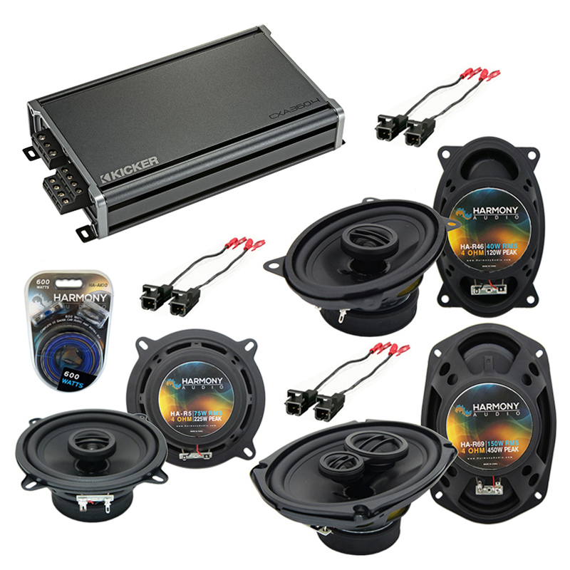 Compatible with Buick Le Sabre 1995-1999 Factory Speaker Replacement Harmony Speakers & CXA300.4 Amp