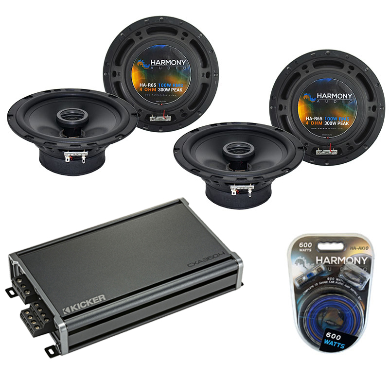 Compatible with Mitsubishi Outlander 03-16 OEM Speaker Replacement Harmony (2) R65 & CXA300.4 Amp