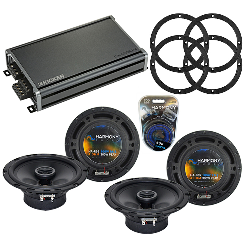 Compatible with Nissan 350ZX 2003-2009 Speaker Replacement Harmony (2) R65 & CXA300.4 Amp