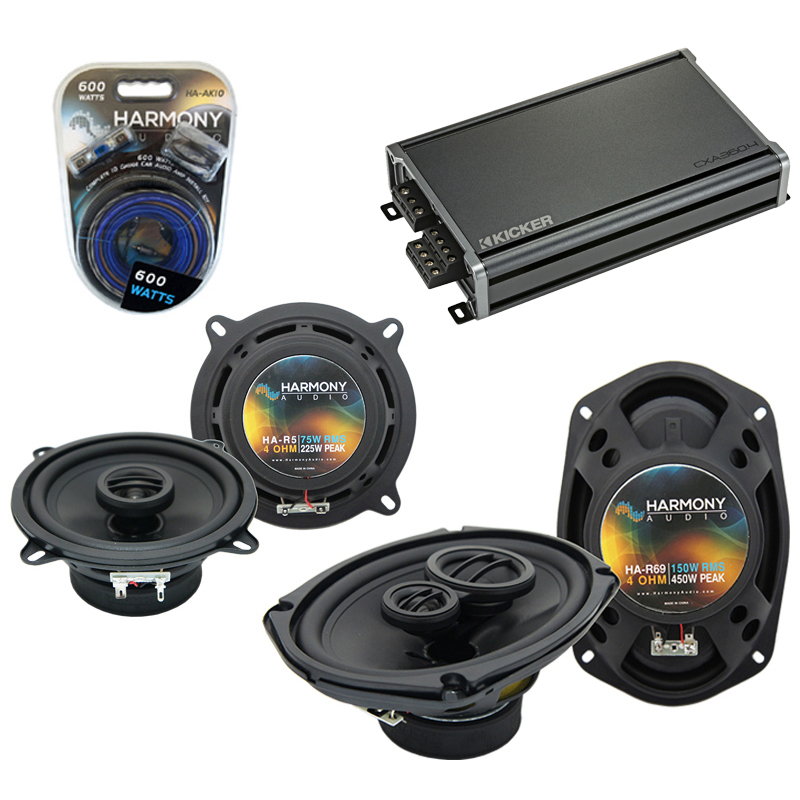 Compatible with Oldsmobile Aurora 1995-2000 OEM Speaker Replacement Harmony Speakers & CXA300.4 Amp