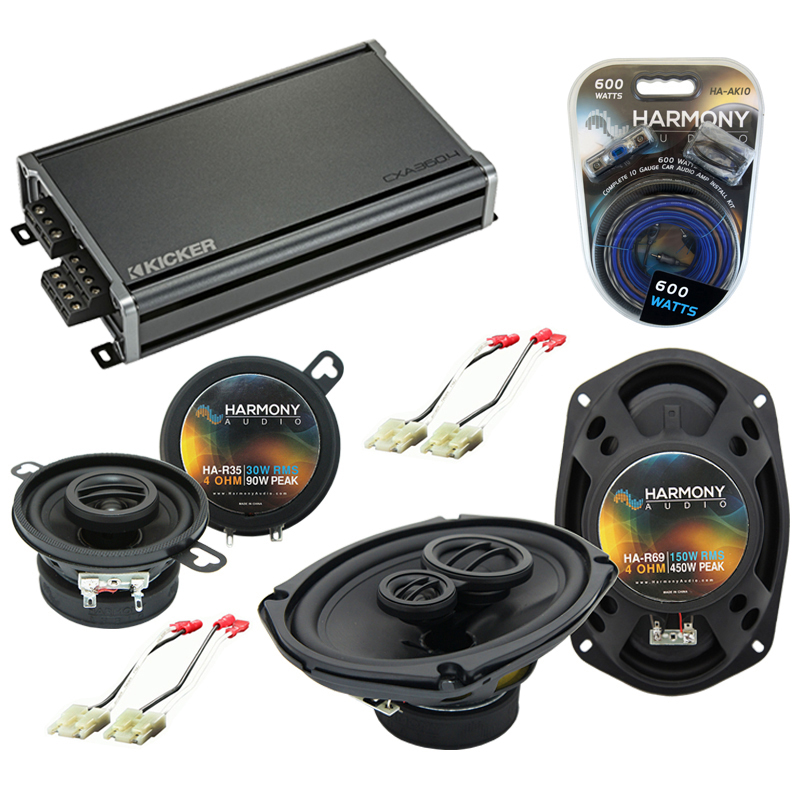 Compatible with Oldsmobile Ninety-Eight 1988-1993 OEM Speaker Replacement Harmony & CXA300.4 Amp