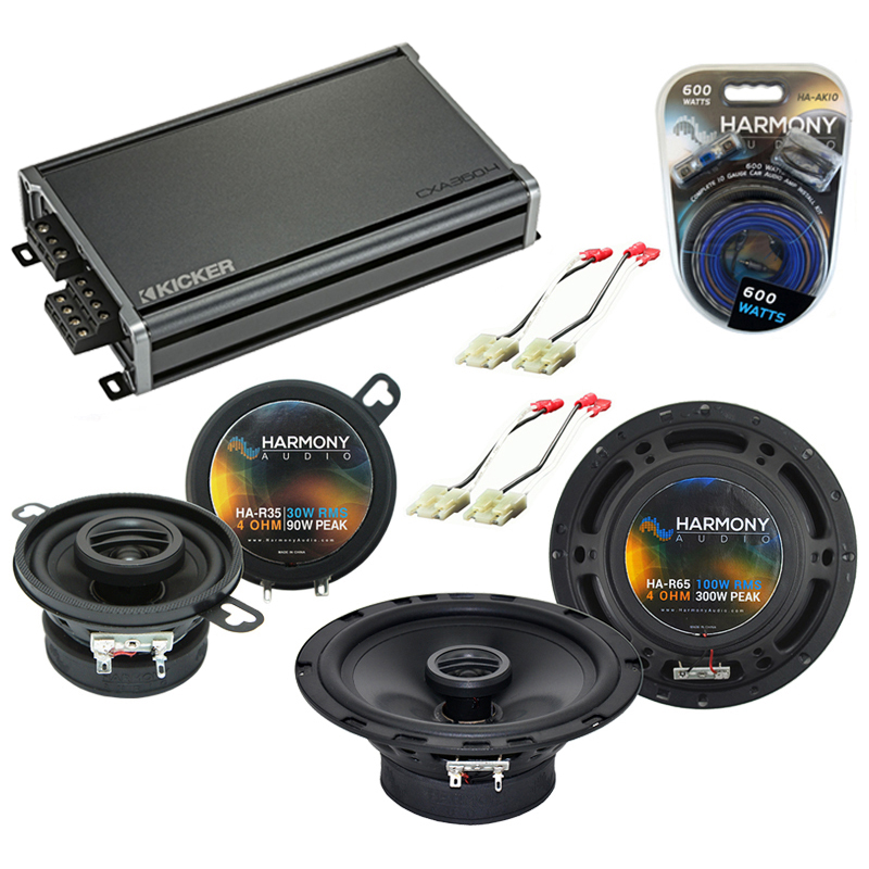 Compatible with Oldsmobile Touring Sedan 1988-1990 OEM Speaker Replacement Harmony & CXA300.4 Amp