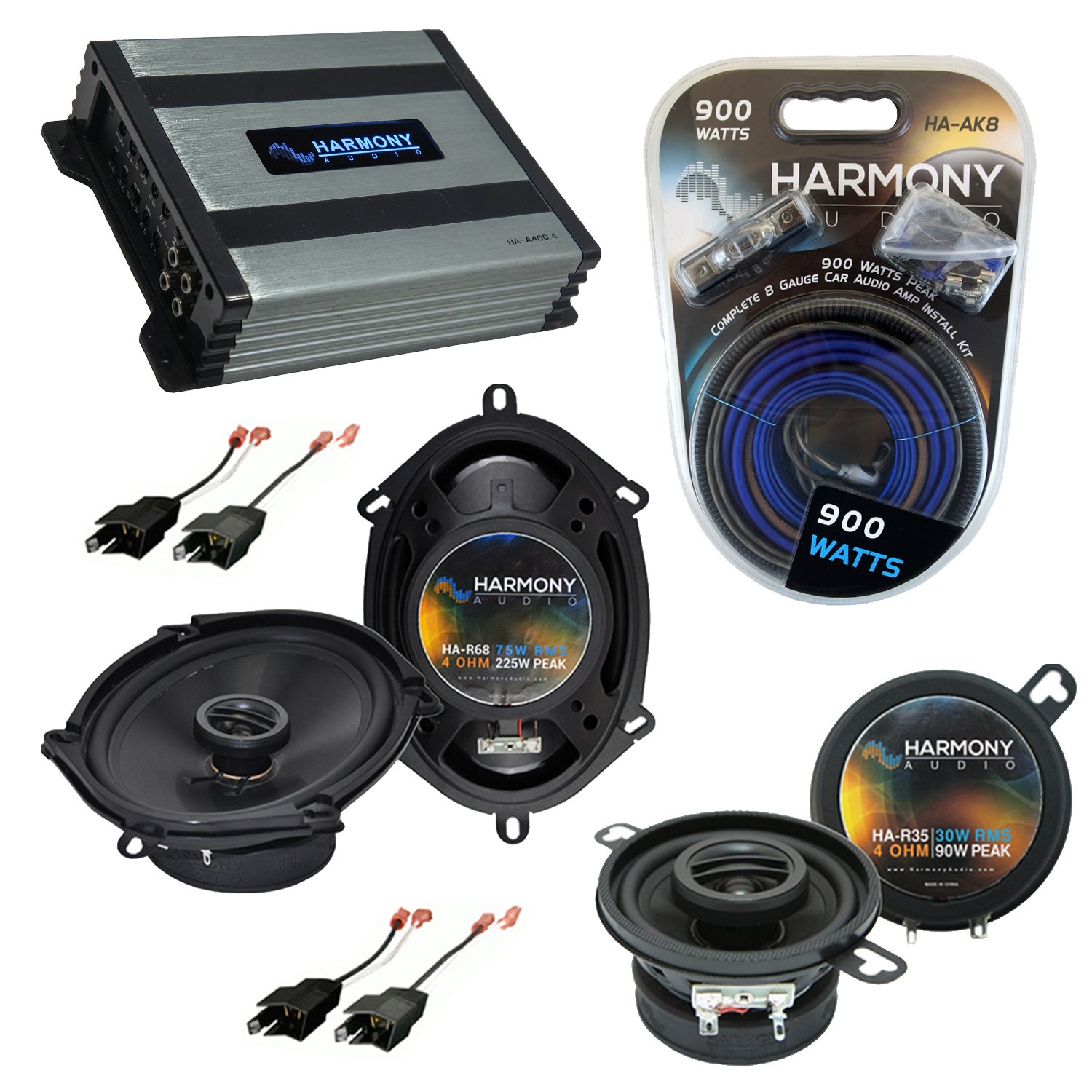 Compatible with Plymouth 400 1982-1983 Factory Speaker Replacement Harmony R35 R68 & Harmony HA-A400.4 Amp