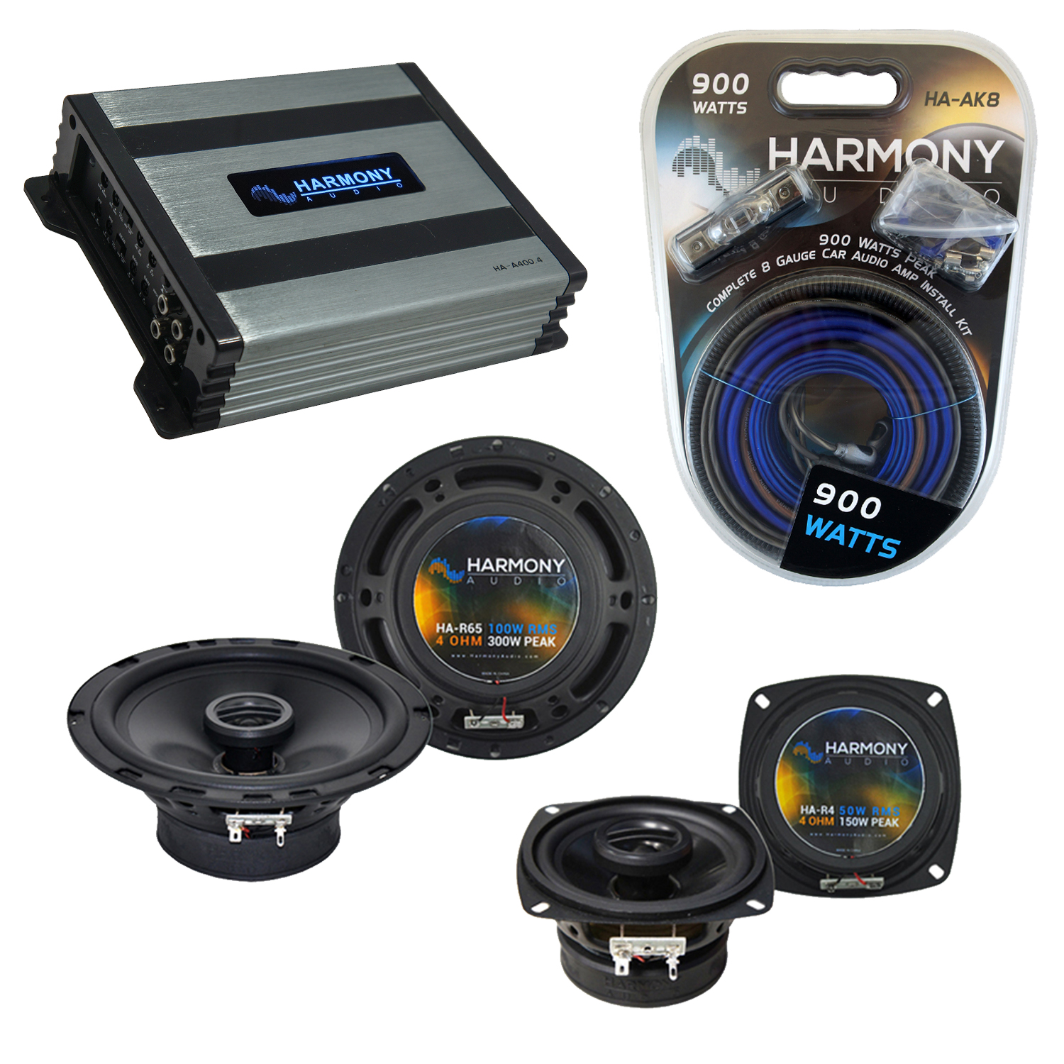 Compatible with Plymouth Laser 1990-1994 OEM Speaker Replacement Harmony R65 R4 & Harmony HA-A400.4 Amp