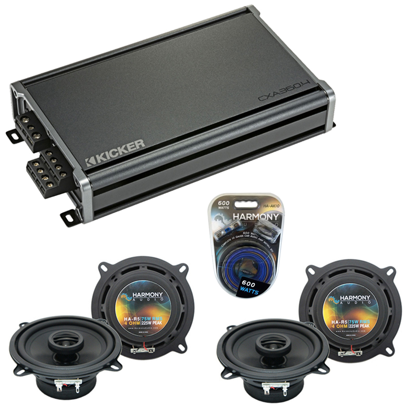 Compatible with Porsche 911 2005-2011 Factory Speaker Replacement Harmony (2) R5 & CXA300.4 Amp