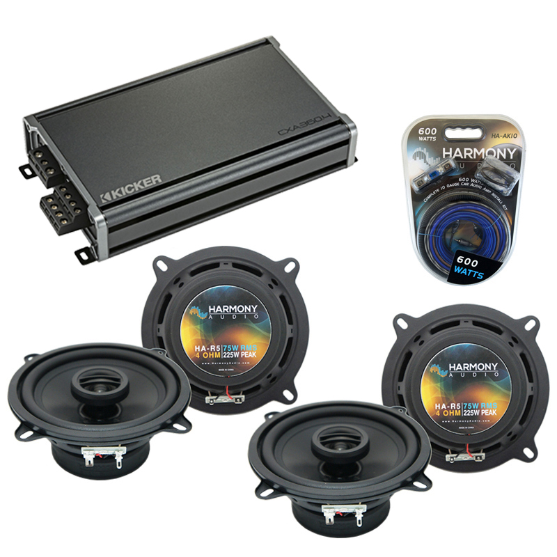Compatible with Porsche 911 1998-2004 Factory Speaker Replacement Harmony (2) R5 & CXA300.4 Amp