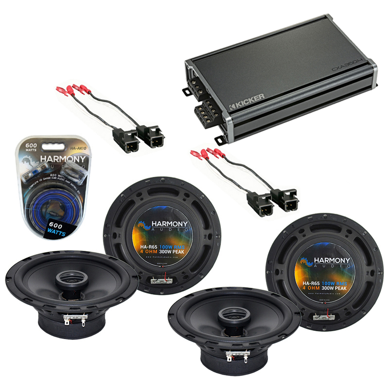 Compatible with Saturn ION 2003-2005 Factory Speaker Replacement Harmony (2) R65 & CXA300.4 Amp