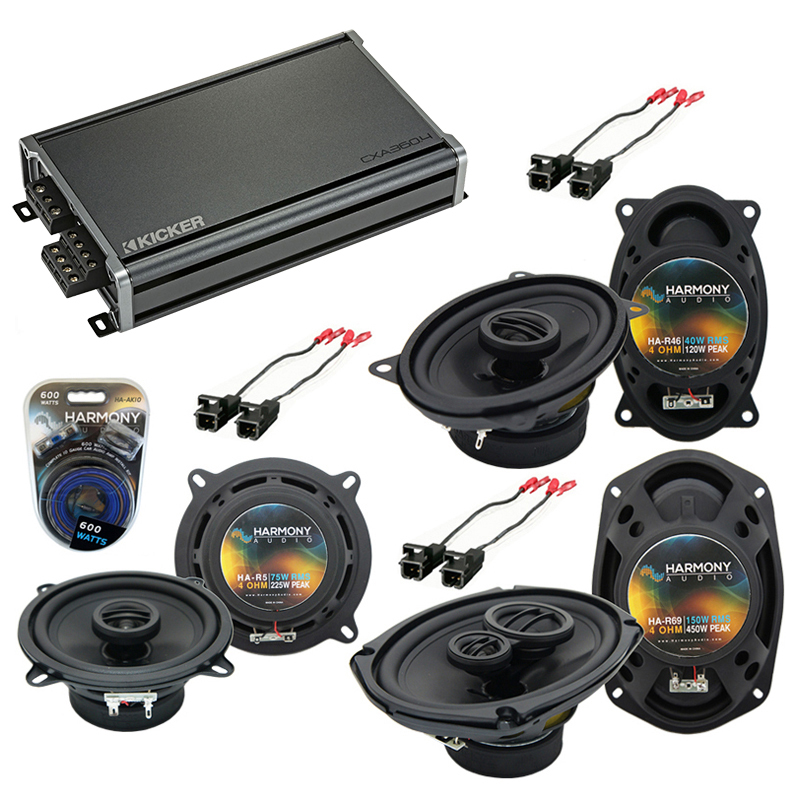 Compatible with Cadillac Coupe DeVille 90-93 OEM Speaker Replacement Harmony Speakers & CXA360.4 Amp
