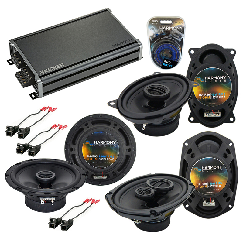 Compatible with Cadillac DeVille 1988-1989 OEM Speaker Replacement Harmony Speakers & CXA360.4 Amp