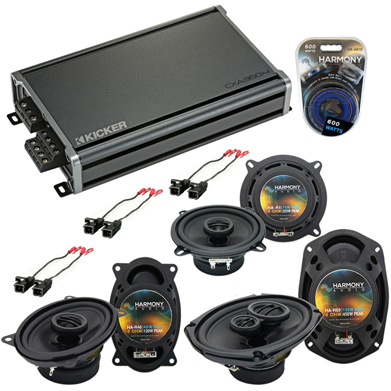 Compatible with Cadillac DeVille 1990-1995 OEM Speaker Replacement Harmony Speakers & CXA360.4 Amp