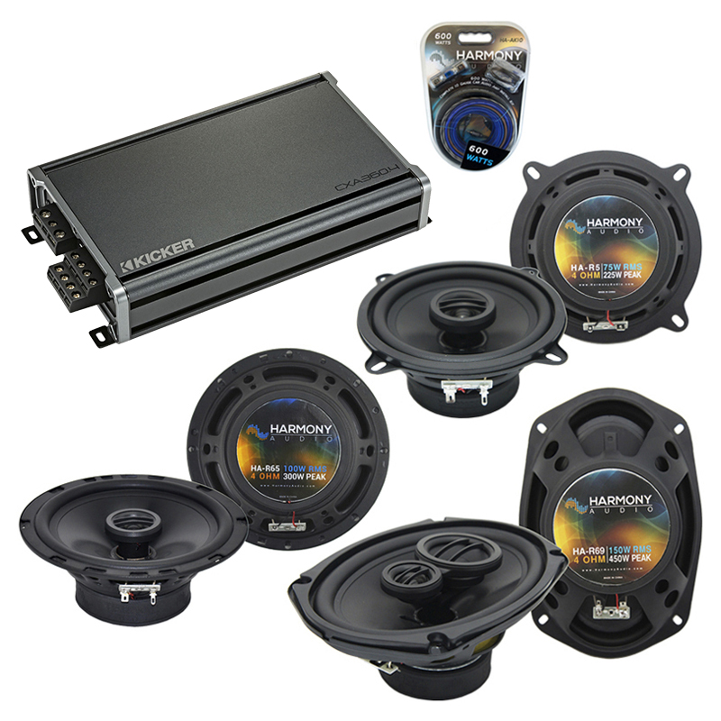 Compatible with Cadillac DeVille 2000-2005 OEM Component Speaker Replacement Harmony & CXA360.4 Amp