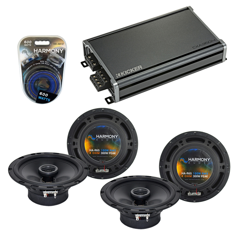 Compatible with Toyota RAV4 1996-2000 Factory Speaker Replacement Harmony (2) R65 & CXA300.4 Amp