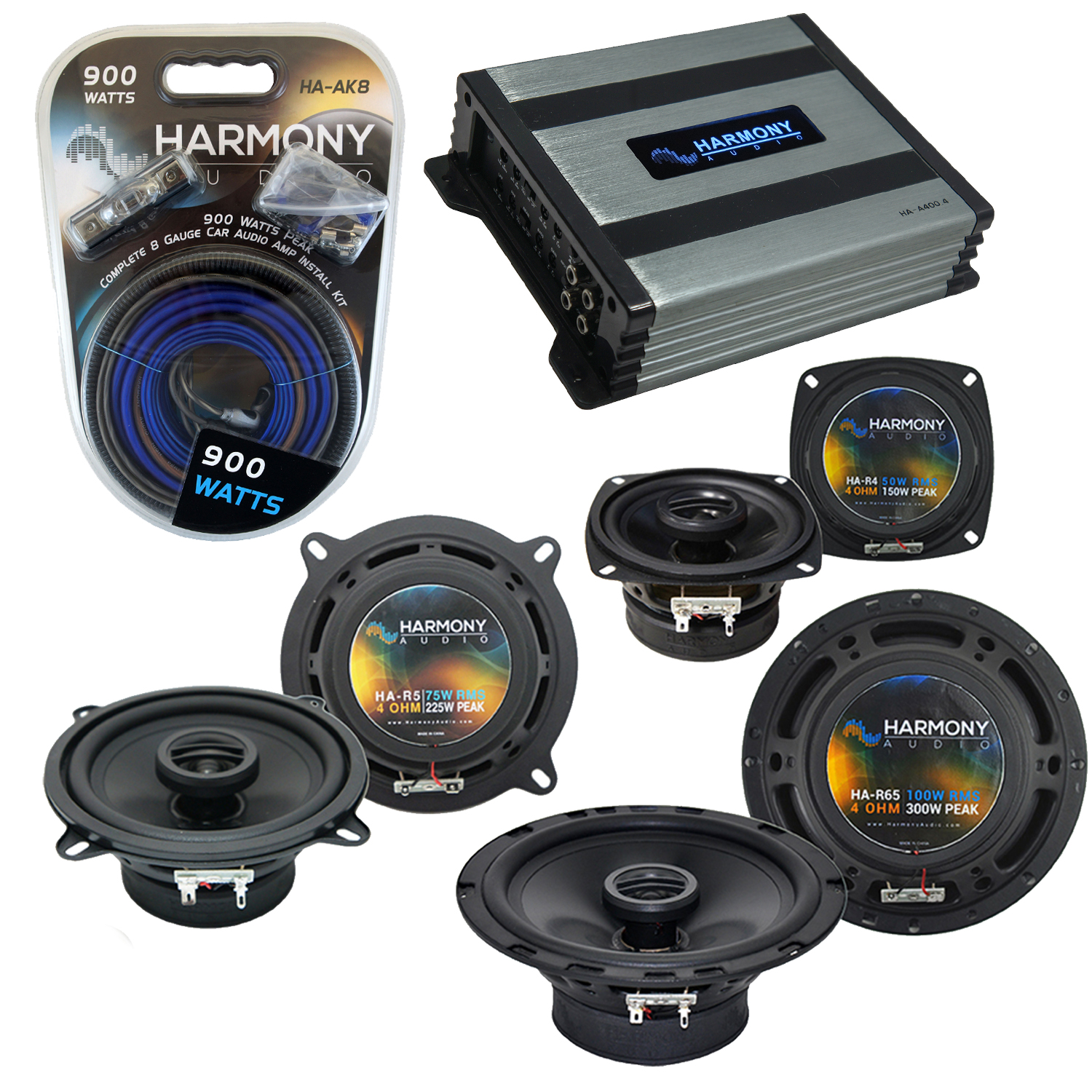 Compatible with Toyota Tercel 87-90 Factory Speaker Replacement Harmony R65 R4 R5 & Harmony HA-A400.4 Amp