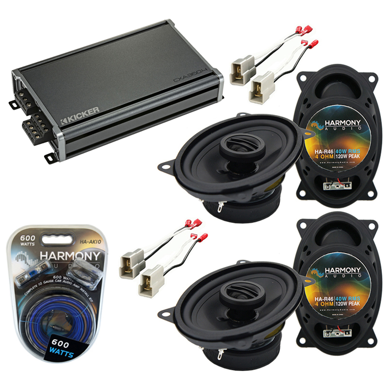 Compatible with Volkswagen Dasher 76-81 Factory Speaker Replacement Harmony (2) R46 & CXA300.4 Amp