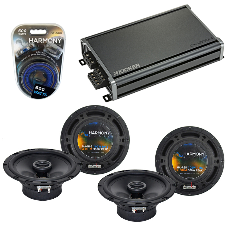 Compatible with Volkswagen GLI 2008-2011 Factory Speaker Replacement Harmony (2) R65 & CXA300.4 Amp