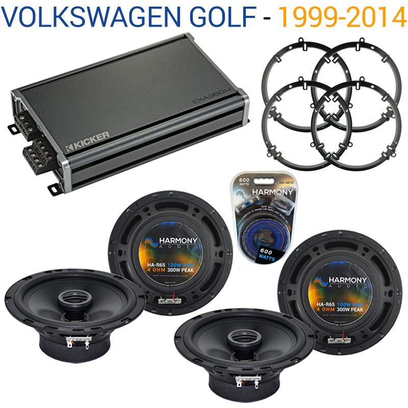 Compatible with Volkswagen Golf 1999-2014 Factory Speaker Replacement Harmony (2) R65 & CXA300.4 Amp