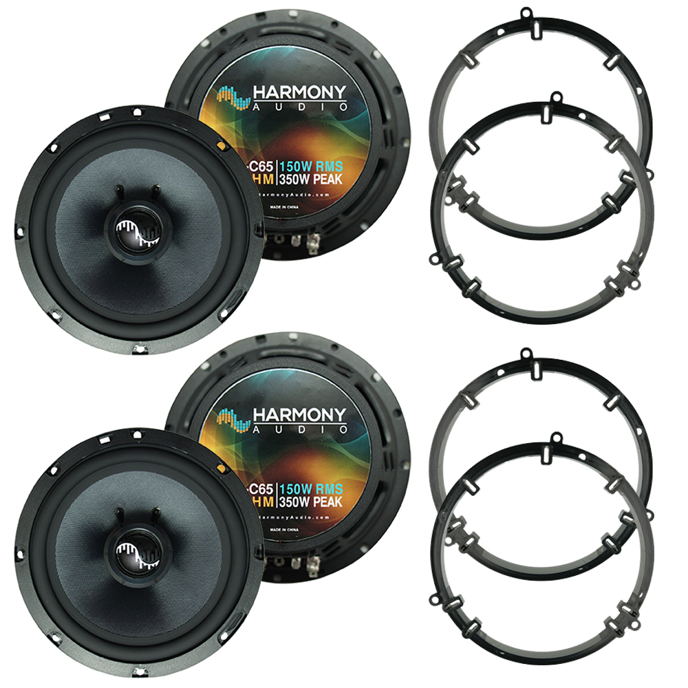 """Harmony Master Bundle Compatible with 1999-2005 Volkswagen Jetta HA-C65 6.5"""" Replacement 350W Speakers & Grills with HA-827803 5.25"""" 6.5"""" Speakers Adapter Kit"""