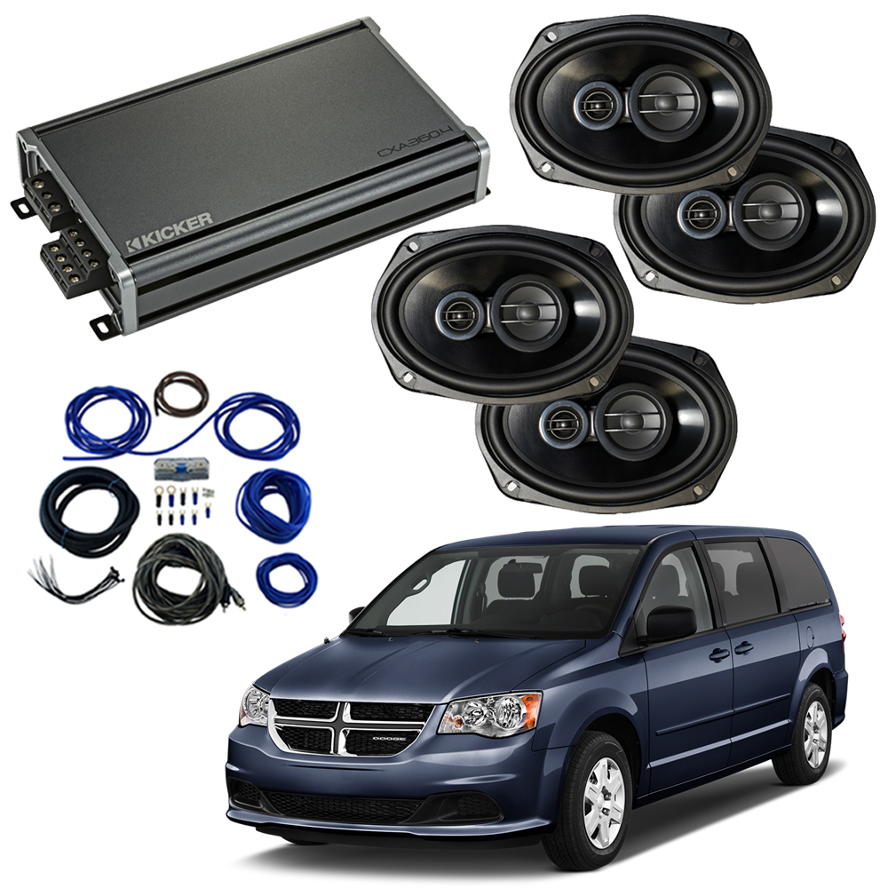 Compatible with Dodge Caravan 2008-2019 Factory Speaker Replacement Package Harmony R69 & CXA360.4