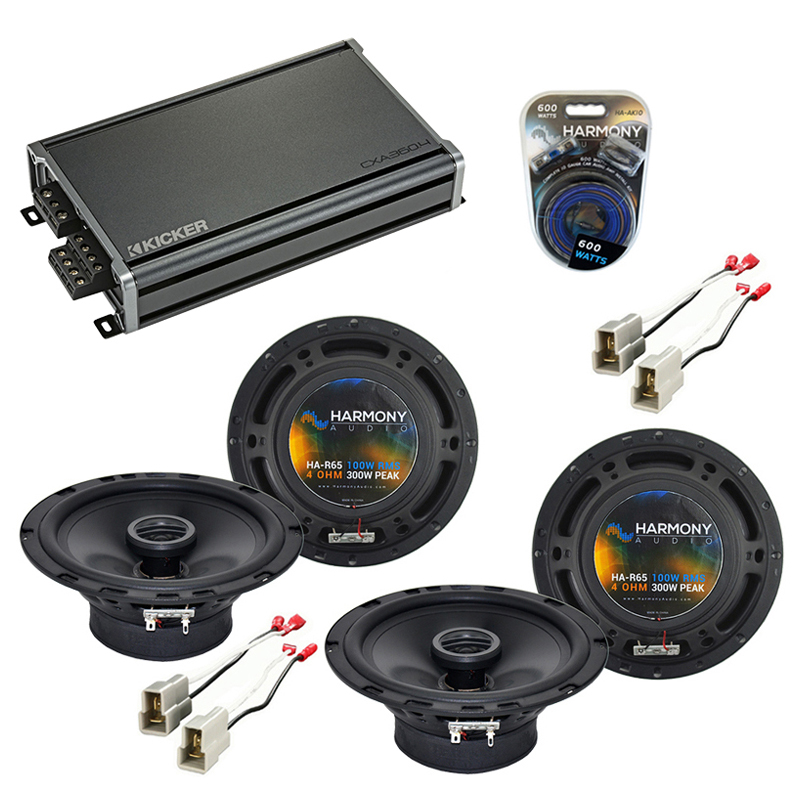 Compatible with Chevy Aveo (Hatchback) 07-08 OEM Speaker Replacement Harmony (2) R65 & CXA300.4 Amp