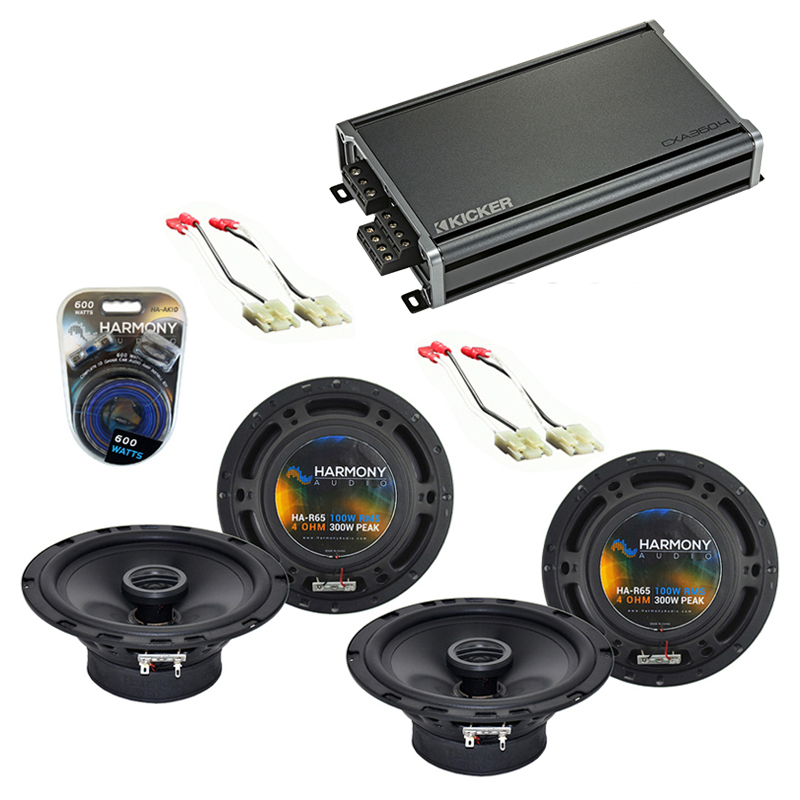 Compatible with Chevy Tracker 1998-2004 Factory Speaker Replacement Harmony (2) R65 & CXA300.4 Amp