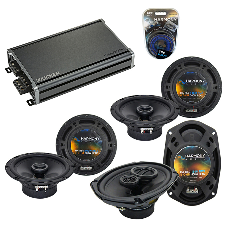 Compatible with Acura TSX 2004-2014 Factory Speaker Replacement Harmony (2)R65 R69 & CXA360.4 Amp