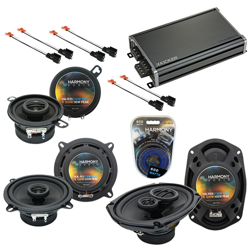 Compatible with Chrysler LHS 1995-1998 OEM Speaker Replacement Harmony Speakers & CXA360.4 Amp
