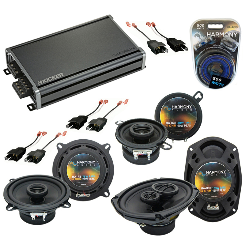 Compatible with Chrysler Yorker 84-93 OEM Speaker Replacement Harmony Speakers & CXA300.4 Amp