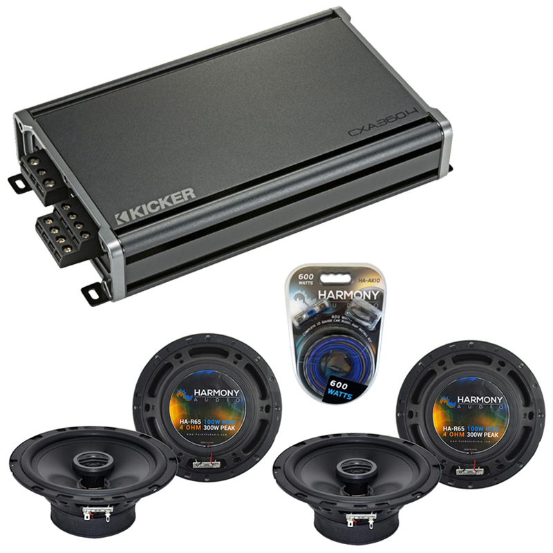 Compatible with Daewoo Leganza 1999-2002 Factory Speaker Replacement Harmony (2) R65 & CXA300.4 Amp